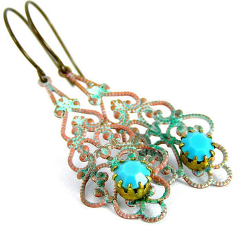 Verdigris Lace Earrings, Vintage Rhinestones, Turquoise, Metal Chandelier Earrings, Antiqued, Spring Jewelry, Green, Filigree