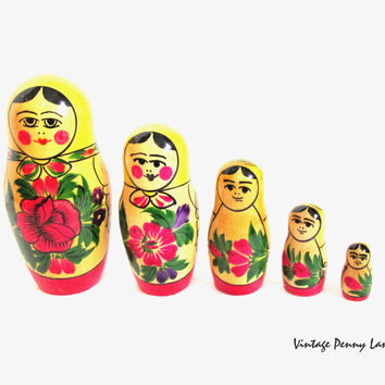 Vintage Nesting Dolls, Tole Painted Russian Wood Stacking Figurines