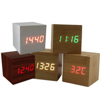 Modern Wood Enelectronic Desk Clock Digital LED Alarm Clock Sounds Control LED Electronic Desk Clock With Temperature Display