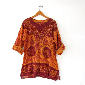 Vintage batik INDIAN blouse. Boho hippie gypsy shirt. Ethnic festival blouse. Tribal shirt with elephants.