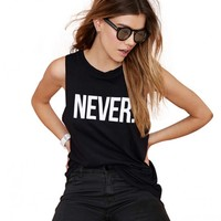 Never Print Drop Armhole Muscle Tee