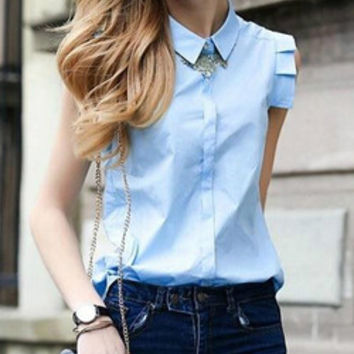 Blue Sleeveless Pointed Flat Collar Buttons Blouse