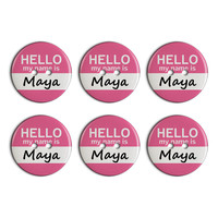 Maya Hello My Name Is Plastic Resin Button Set of 6