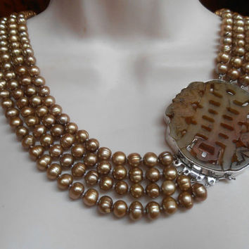 Sterling Carved Jade Pearl Bib Necklace, 4 Strand Champagne Potato Pearls, Chinese Characters