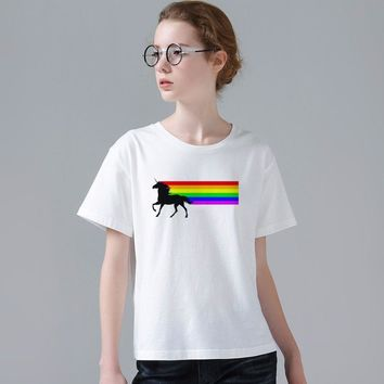 Fashion Women Summer Novelty 80s Vintage Rainbow Design T Shirt Unicorn Printed Tops Hot Sales Tee Shirts W860