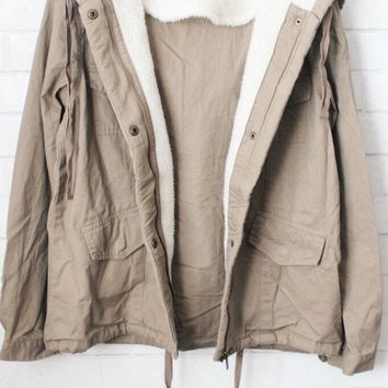Hailey Khaki Faux Fur Hooded Jacket