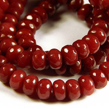 7 Inch Strand - 5x8mm Faceted Brazilian Ruby Red Jade Abacus Beads - Gemstone Beads - Rondelle - Jewelry Supplies