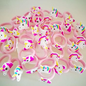 12pc/Set Elastic Hair Rubber Band children Hair Unicorn Headband Kids Hair Accessories Gril Hair Band Set Cute unicorn cartoon