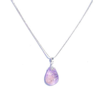 Ametrine Necklace - Amethyst / Citrine - Sterling Silver Ametrine Pendant - Sterling Silver Snake Chain - Gift For Her