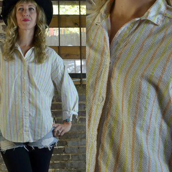 Vintage 80's Notches Candy Striped New Wave Boyfriend Style Button Up Dress Shirt