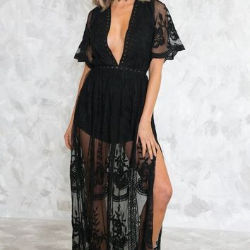 EMBROIDERY LACE MAXI DRESS - BLACK [PRE ORDER]