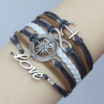 Nautical bracelet  Compass, Anchor, Love and Infinity Bracelet.