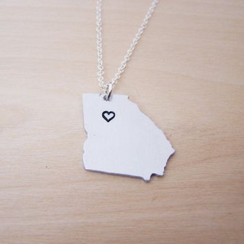 Hand Stamped Heart Georgia State Sterling Silver Necklace / Gift for Her
