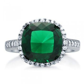 Cushion Cut Emerald CZ 925 Sterling Silver Halo Cocktail Ring 4.91 Ct #r747-EM