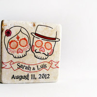 Wedding favors Day of the Dead, 25 sugar skull tile magnets