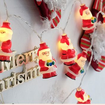SLTMAKS New Year Holiday decoration LED String Snow Stnta Claus Room lights 1M 2M 3M Christmas decorations for home