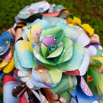 Alice in Wonderland Disney Book Bouquet-Book lover gift-Book Bouquet-Book decor- Unique Gift- Bridal Bouquet- Paper Roses-Wedding