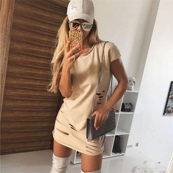 Casual Simple Cotton Ripped Short Sleeve Mini Dress