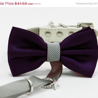Silver purple dog bow tie, Dog ring bearer, Pet Wedding accessory, Pet lovers, Silver and purple wedding, Purple wedding, Dog bow tie