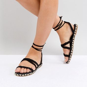 ASOS JACI Wide Fit Plaited Espadrille Sandals at asos.com