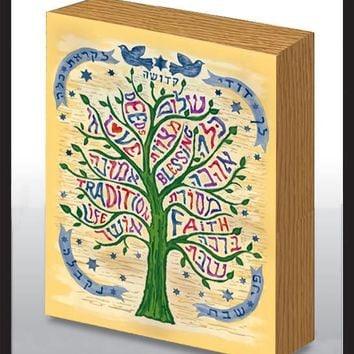 Shalom Tree Blessing Wood Art Panel