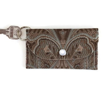ID Holder, Keychain Wallet in Brown Paisley