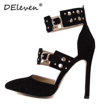 2016 New Fashion Flock Pointed Toe Rivets Buckle Strap High Heels Shoes Woman Suede Sexy Pumps Zapatos Mujer Black Beige US5~8.5