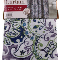 "Blue Fabric Flower Shower Curtain Water Repellent 72"" x 72"" White Green Purple"