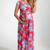 Pink Floral Print Cap Sleeve Maternity/Nursing Maxi Dress