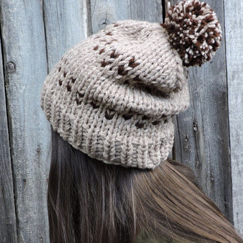 FREE SHIPPING Brown knit hat Slouchy hat Beanie with pom pom Fair Isle Hand knit hat Women's men's winter hat Ski hat Unisex bobble hat Oat