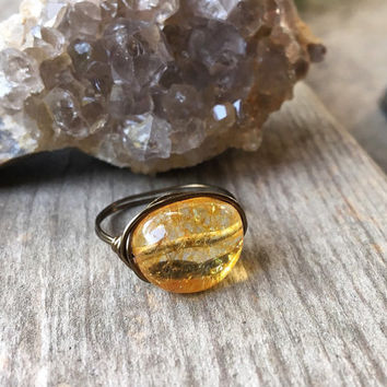Citrine ring, wire ring, crystal ring, Citrine jewelry, healing stones, wire wrapped ring, chakra jewelry, handmade ring, gemstone ring