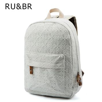 RU&BR New Arrival Women Lace Backpacks School Travel Bags School Youth Trend Schoolbag Students Canvas Backpack Women Campus Bag