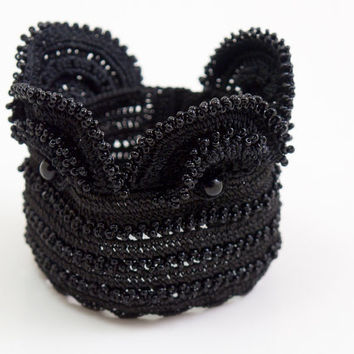 Freeform Crochet Cuff - Flowers – Black Lace Cuff – Wide Bracelet - Beaded Statement Cuff - Boho Chic - Ottoman Tile – Fiber Art Jewelry
