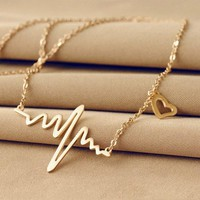 Silver or Gold Heartbeat Necklace