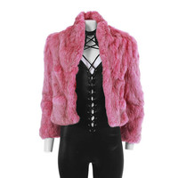"Rabbit Fur Jacket Pink Fur Coat 80s Clothing Colorful Rose Pink Cropped Jacket 70s Disco Clothing Vintage Clothing Women's Size XS 35"" Bust"