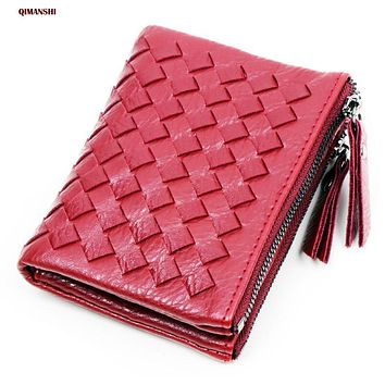 Women Wallet ID Card Holder PU Leather Short Money Wallets PU Leather Lady Double Zipper Coin purse wallet for women