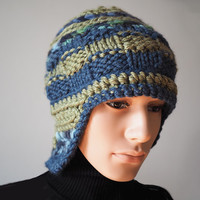 Man's blue & green knit helmet hat, Crochet warm winter cloche, Ready to ship, Handmade hat, Striped cold weather hat, Teen chunky knit hat