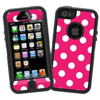 "White Polka Dot on Raspberry ""Protective Decal Skin"" for Otterbox Defender iPhone 5 Case"