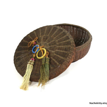1800s Asian Basket, Silk Tassels, Glass Rings, Antique Lidded Storage Container