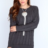 Charcoal Long Sleeves Sweater Dress