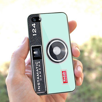 Mint Vintage Camera Instamatic - for iPhone 4 case iphone 4S case iPhone 5 Case iphone 4/4s/5 Case Hard plastic Cover