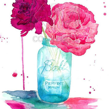 Watercolor Painting Print, Peonies and a Mason Jar - Home decor and wall art