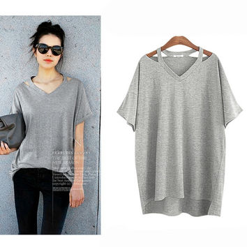 V-neck Cut Out Loose T-shirt for Women Gift-103
