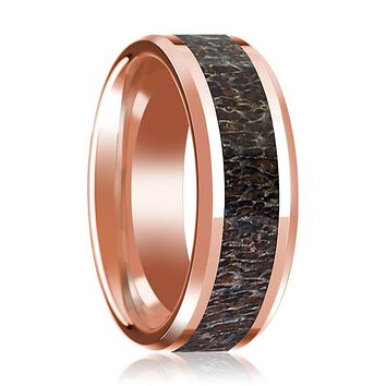 14K Rose Gold Wedding Ring with Dark Deer Antler Inlay Beveled Edge and Polished