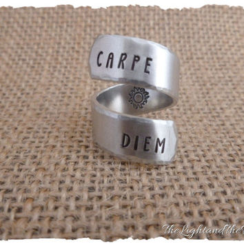 CUSTOM Hand Stamped Ring - Carpe Diem - Seize the Day  - Gift for her - Stamped Metal Jewelry - Gift - Personalized - Wrap Adjustable Ring