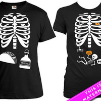 Matching Halloween Couple Shirt Pregnant Skeleton T Shirt Taco & Tequila Skeleton Ribcage Shirt Halloween Pregnancy Announcement MAT-167-20