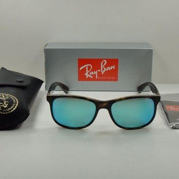Kalete RAY-BAN ANDY POLARIZED SUNGLASSES RB4202 710/9R TORTOISE/BLUE MIRROR LENS 55MM