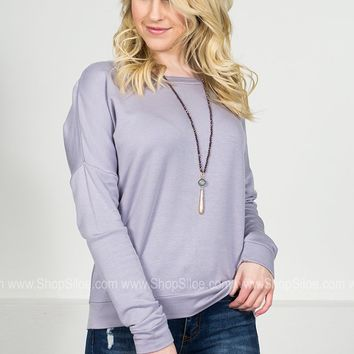 Lilac Grey Soft Sweater