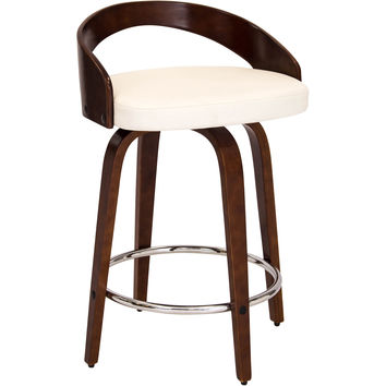 Grotto Mid-Century Modern Counter Stool, Walnut Wood & White PU Leather