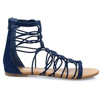 Ombre By Soda, Ankle High Elastic Gladiator Strap Flat Sandal w Closed Heel Counter